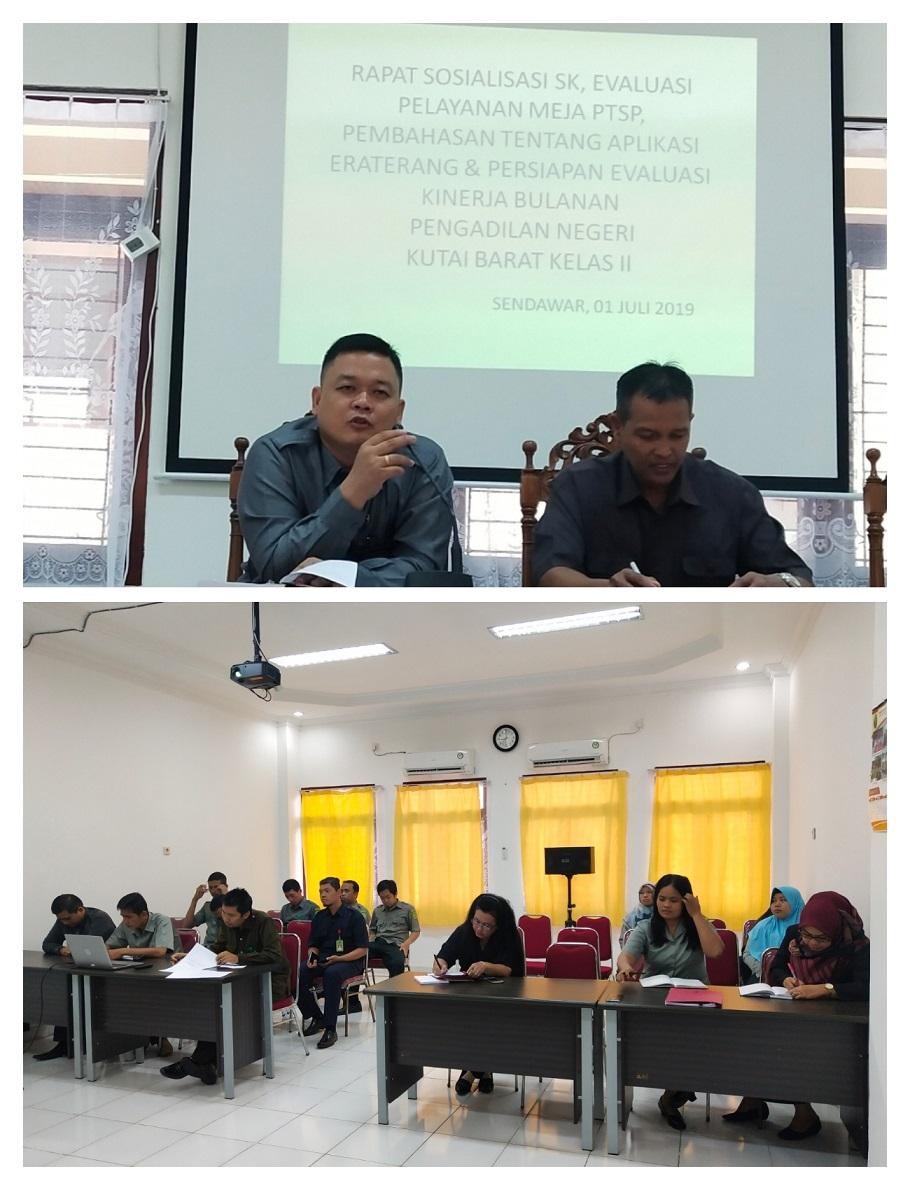 Rapat Sosialisasi SK, Evaluasi Meja PTSP, Pembahasan Tentang Aplikasi ERATERANG & Persiapan Evaluasi Kinerja Bulanan