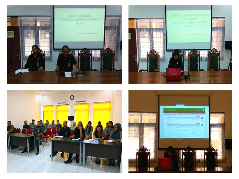 Rapat pembinaan dilanjutkan sosialisasi implementasi E-LLK (SIMARI) pada Pengadilan Negeri Kutai Barat Kelas II